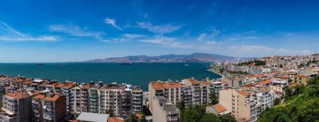 Panoramic landscape of City of Izmir (Smyrna), Turkey. Aegean sea.