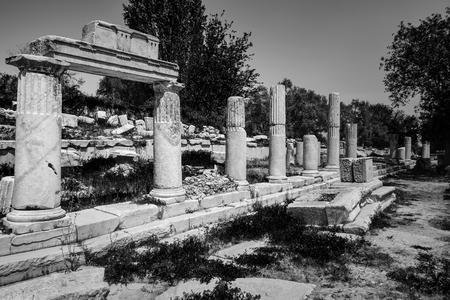 Black and white view from Lagina Hecate(Hekate) Ancient City in Mugla, Turkey. Stock Photo