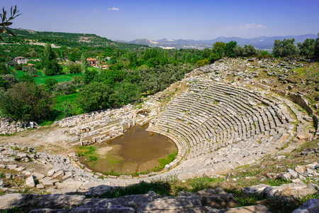 Stratonikeia Ancient City theater. A view from the top of the theater. City of Gladiators. Mugla, Turkey.