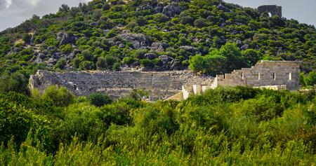 Panoramic Theater view of Patara Ancient City in Kas, Antalya, Turkey. Archivio Fotografico