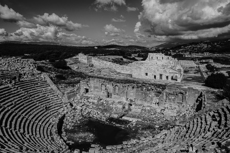 Theater of Patara Ancient City in Kas, Antalya, Turkey. Black and white view.