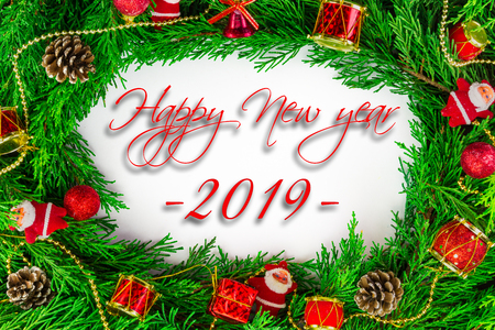 Christmas decoration and concept for new year. Text of Merry Christmas and 2019. Happy new year.