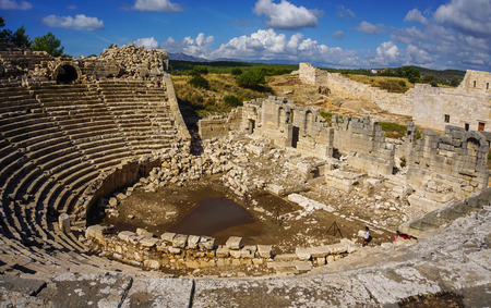 Panoramic Theater  view of Patara Ancient City in Kas, Antalya, Turkey.