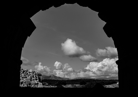 Black and white landscape from Theater in Patara (Pttra) Ancient City. The Lycian League's capital was at Patara. Kas, Antalya, Turkey.