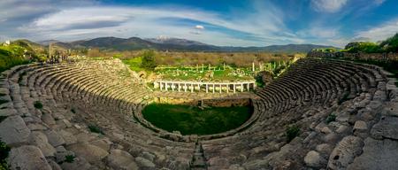 Karacasu, Aydın/Turkey - March 16, 2018: Panoramic Theather view of Aphrodisias (Afrodisias) Ancient City. Aphrodisias was named after Aphrodite, the Greek goddess of love. Standard-Bild - 119960609