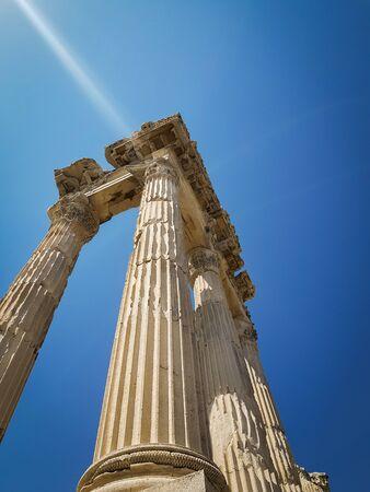 Temple of Trajan in Pergamon (Pergamum) Ancient City. Bergama, Izmir, Turkey. Old ruin. Imagens