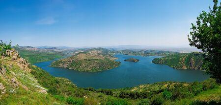 Panoramic view of Kestel Dam Lake near the Pergamon (Pergamum) Ancient City. Bergama, Izmir, Turkey