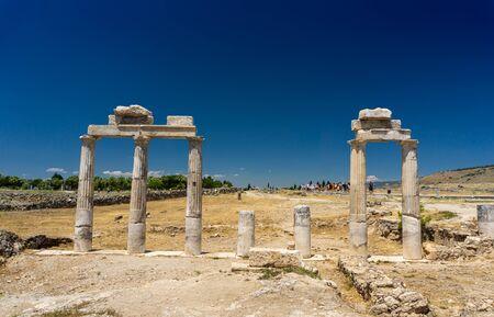 Pamukkale, Denizli / Turkey - June 5 2019: Hierapolis Ancient City ruins in Pamukkale, Denizli, Turkey Stock Photo