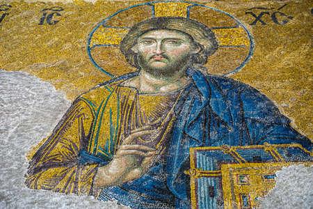 13th century Mosaic of Jesus Christ in the Hagia Sophia (Hagia Sophia) museum.