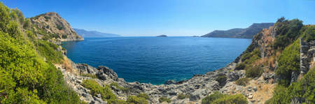 Panoramic Fethiye cove view. Amazing landscape and background for summer holiday.