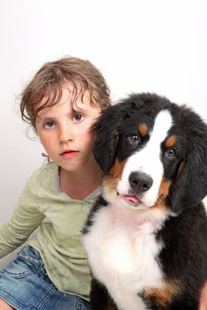 a girl together with dog