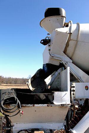 pumper: A concrete pumper on the building site Stock Photo