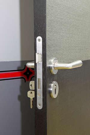 a new wood door , door-handle Stock Photo - 16058586