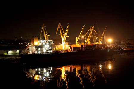 A cargo ship and night Stock Photo - 17019028