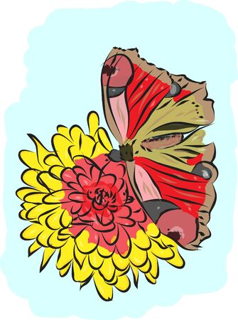 butterfly and flower Stock Vector - 17449620