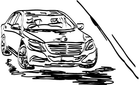 sity: car in the sity Illustration