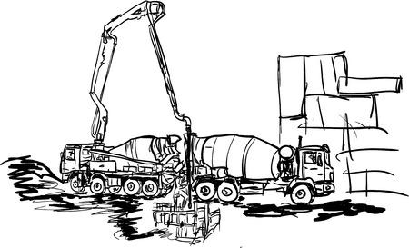 concreting works Ilustracja