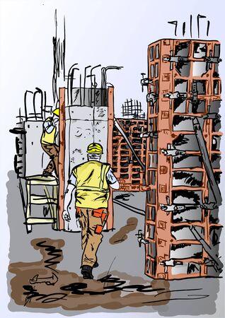 concreting: concreting works Illustration