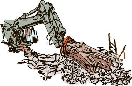 demolishing: demolition work Illustration