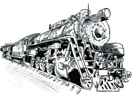 Locomotora de vapor aislada en la ilustración de vector de fondo blanco Ilustración de vector