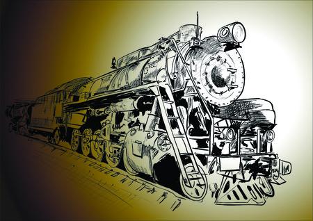 Steam locomotive in gradient color background Illustration