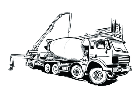 A cement mixer on a black and white