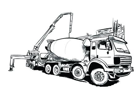 un mélangeur de ciment sur un fond noir et blanc Vecteurs