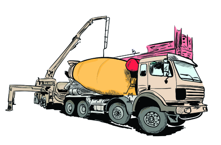 Hand drawn concrete mixer illustration.