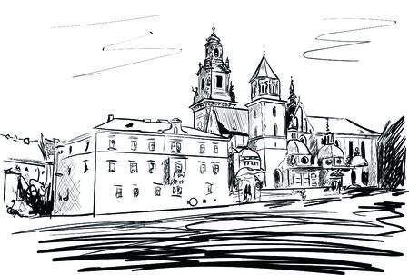krakow castle Иллюстрация