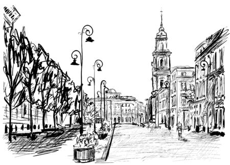 warsaw street Vector illustration.