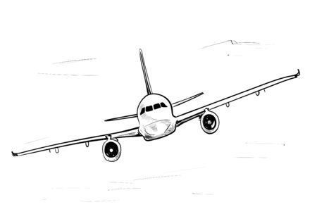 Airplane aviation sketch, isolated on white background 向量圖像