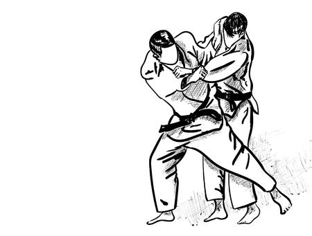 Judo Martial Arts vector illustration. Vettoriali
