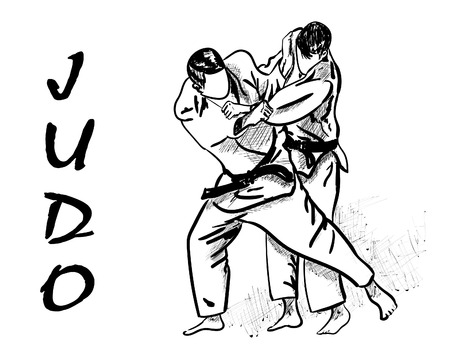 Judo Martial Arts vector illustration. Çizim