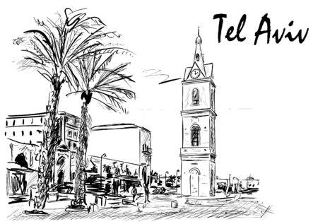 Tel aviv Vektoros illusztráció