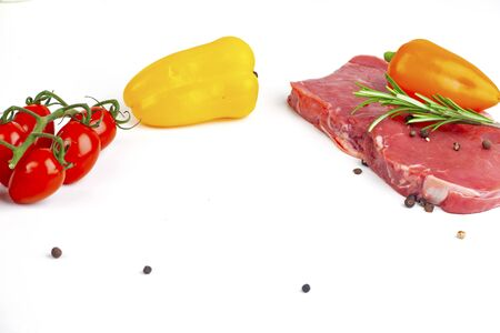meat and peppers on white background Stock fotó - 137921035