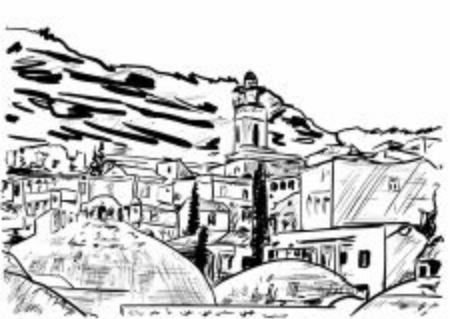 vector illustration of an old city