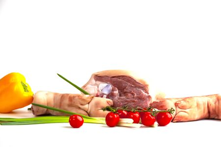 meat and vegetables on white background Stock fotó