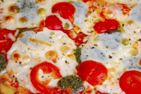 pizza with tomatoes and cheese