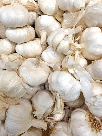 close up of garlic on the market