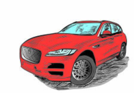 a sketch of new car on the white Illusztráció