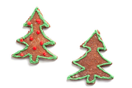 a christmas tree cookie on the white