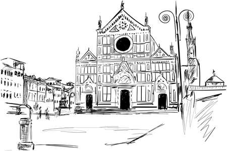 a old basilica in the Italy Illustration