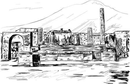 a city street scene, Pompeii Illustration