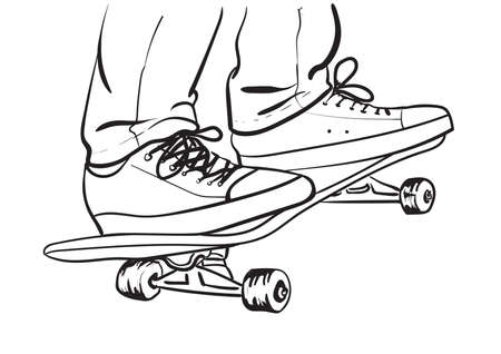 skater in jeans and sneakers on skateboard Illustration