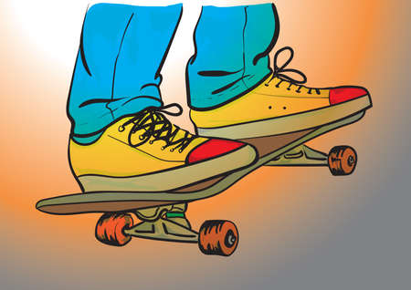 skater in jeans and sneakers on skateboard Stock Vector - 165692017