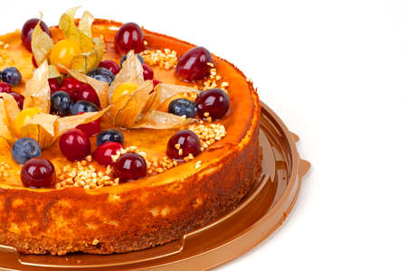 cake with cheese and fruits Stock Photo