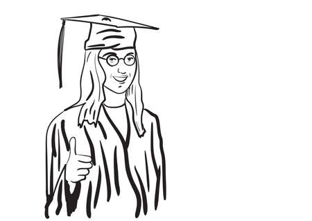graduate in cap and gown illustration