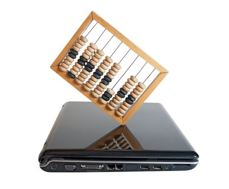 computer and Abacus isolated on a white background photo