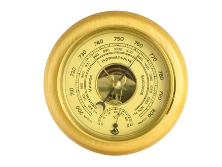 aneroid: Aneroid barometer isolated on a white background