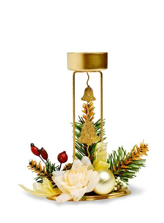 holiday candlestick isolated on a white background photo